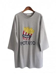 <br>马铃薯圆领长款T恤<br><br>